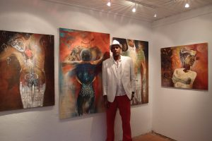 Cuban artist Francisco Gordillo Arredondo at the Exhibition Opening at Liza's Gallery 2016