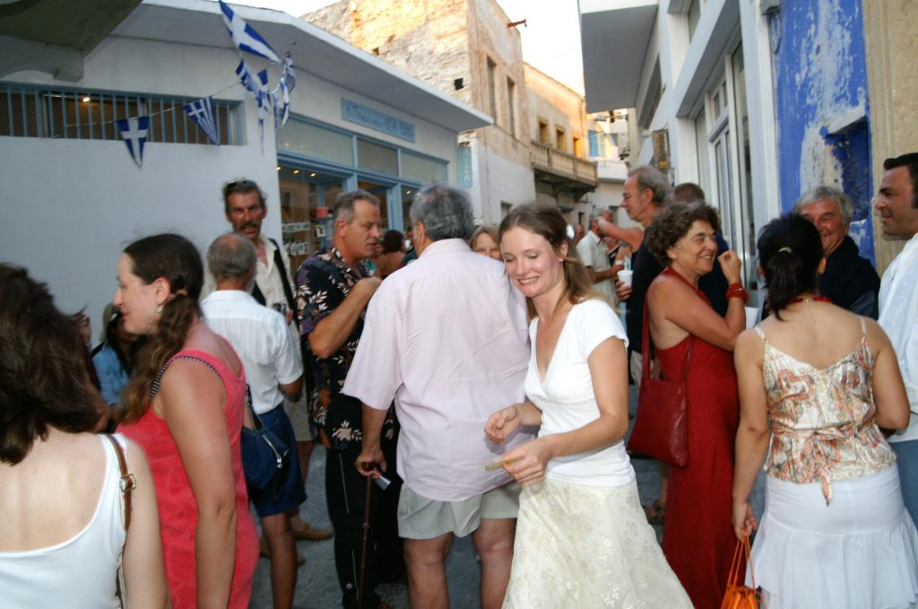 Busy opening night, Leros 2005