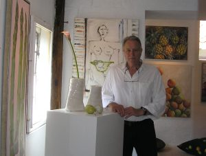 Artist Rupert Sutton in the gallery