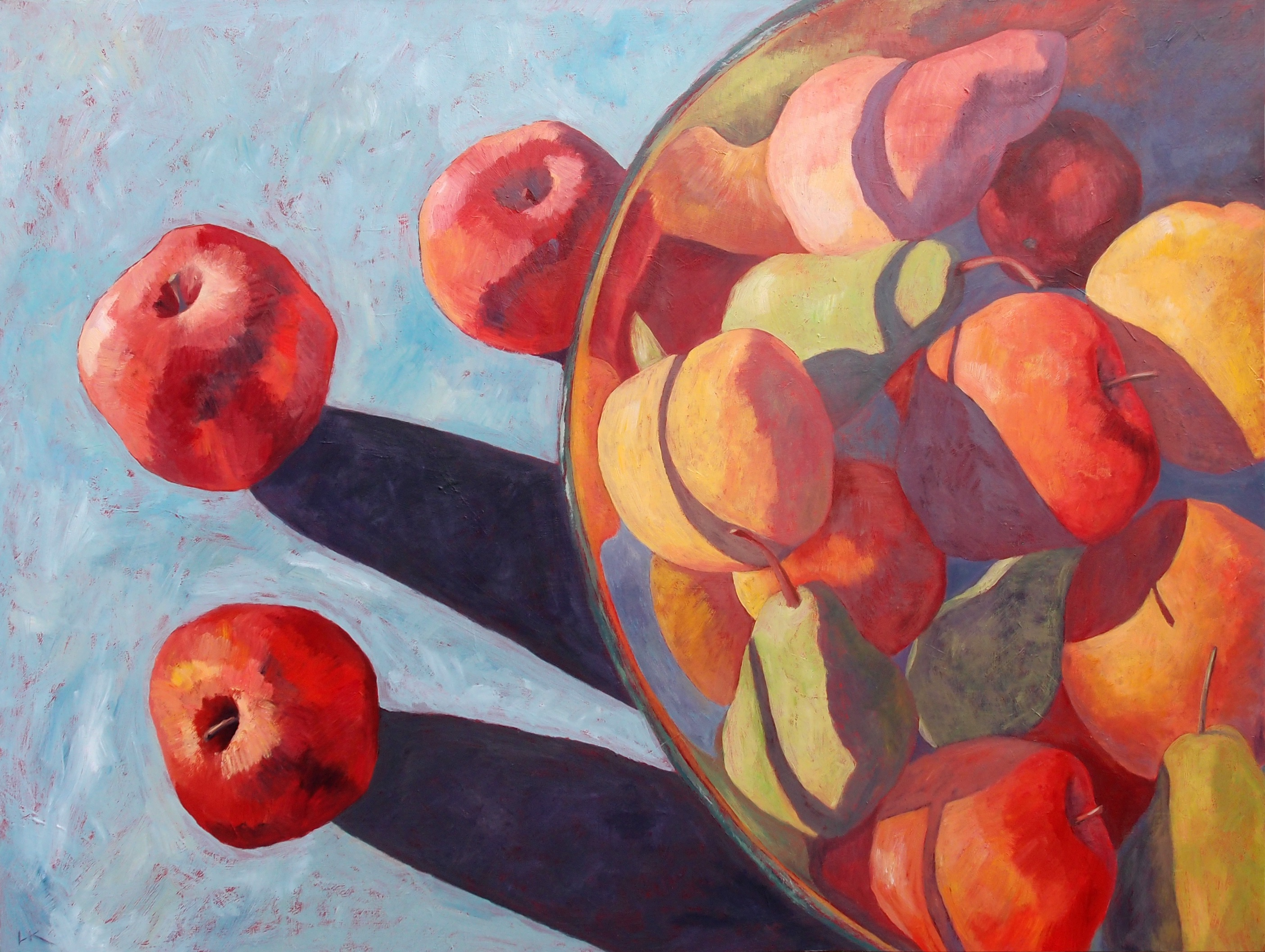 Liza's Gallery » Fruit Bowl and Apples. 90 x 120 cm (SOLD)