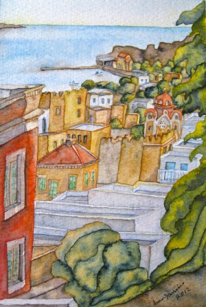 'View to Agia Marina' by Janina Pieniowska