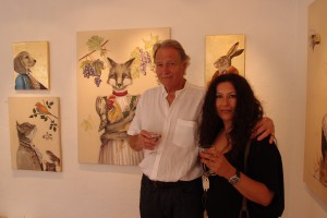 From Effie Bezati's exhibition at Liza's Gallery, 2014. Gallery owner Rupert Sutton and Effie Bezati